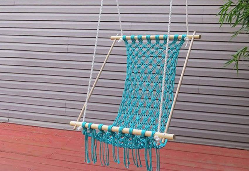 Crocheted hammock.