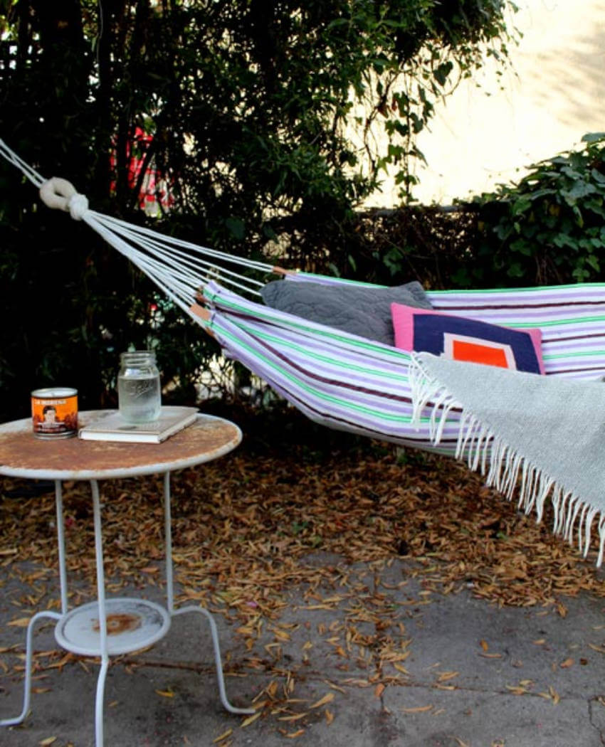 Beach towel hammock.