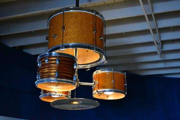 Turn your old drum kit into a lighting fixture!