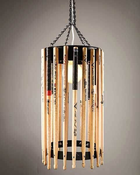 The drum stick chandelier looks even better to drummers who have had to replace a lot of sticks