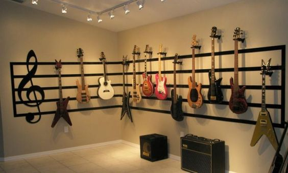 For the ultimate in musical equipment layouts, the living sheet music wall