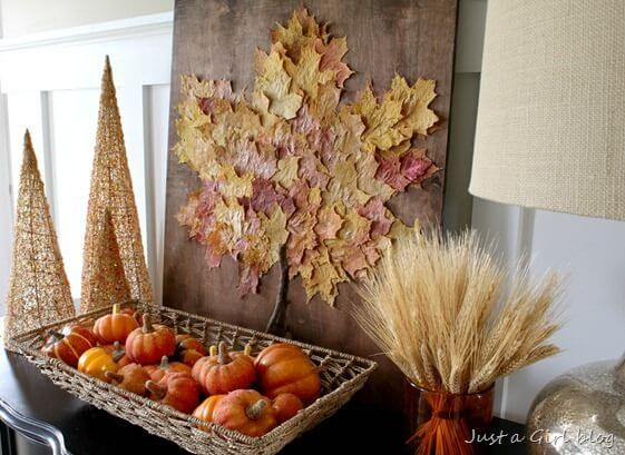 Here's another interesting take on leaf decor.