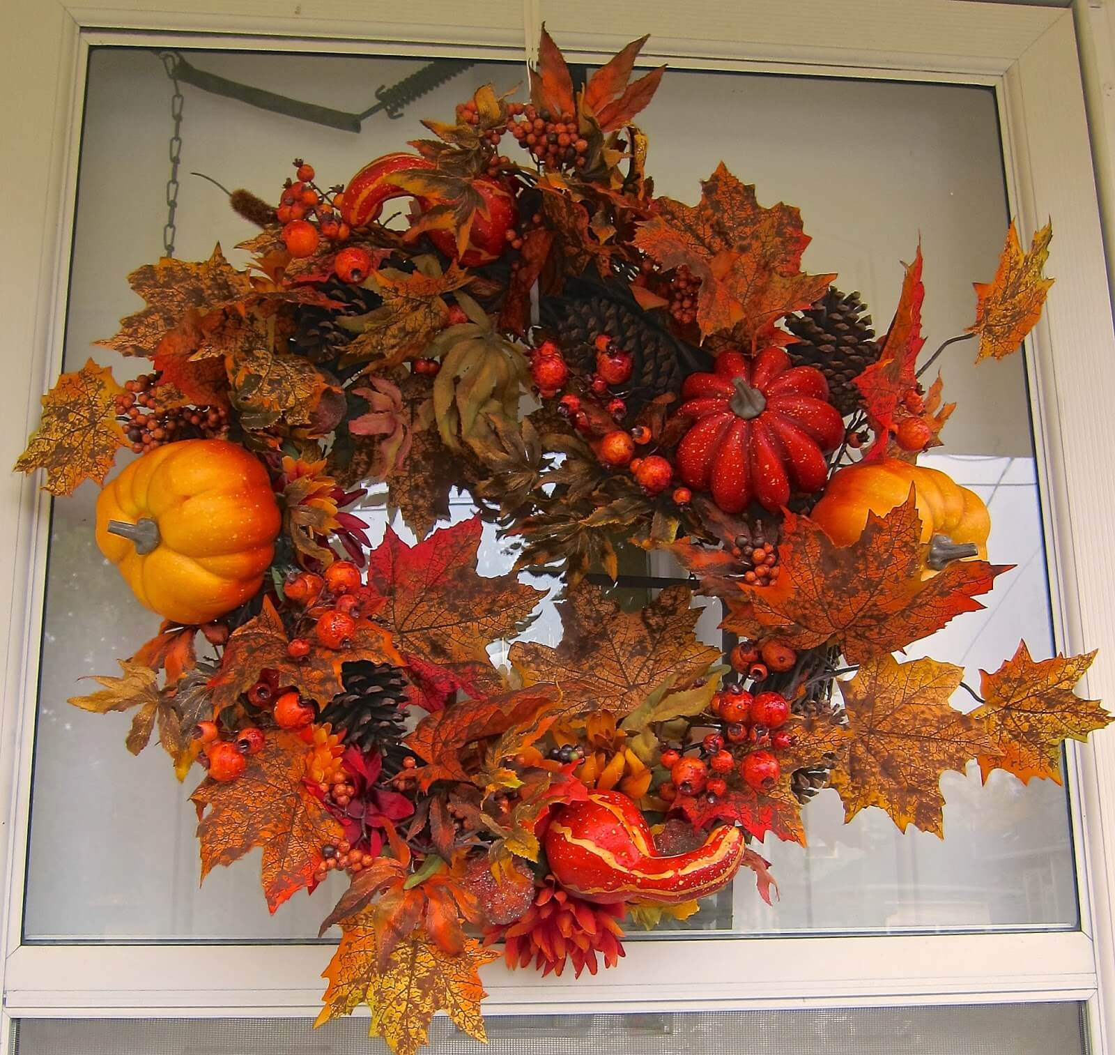 A self made fall wreath for your home's front door