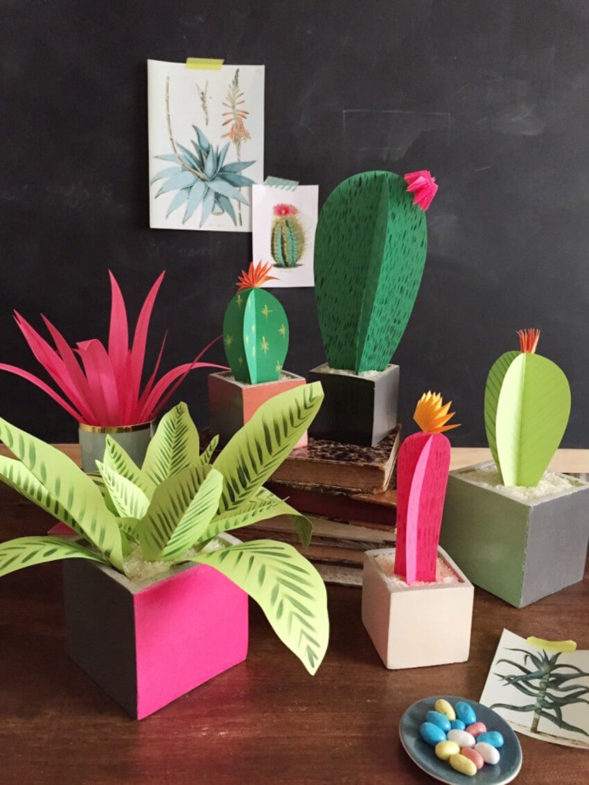 A paper garden is great for mom who doesn't have a green thumb.
