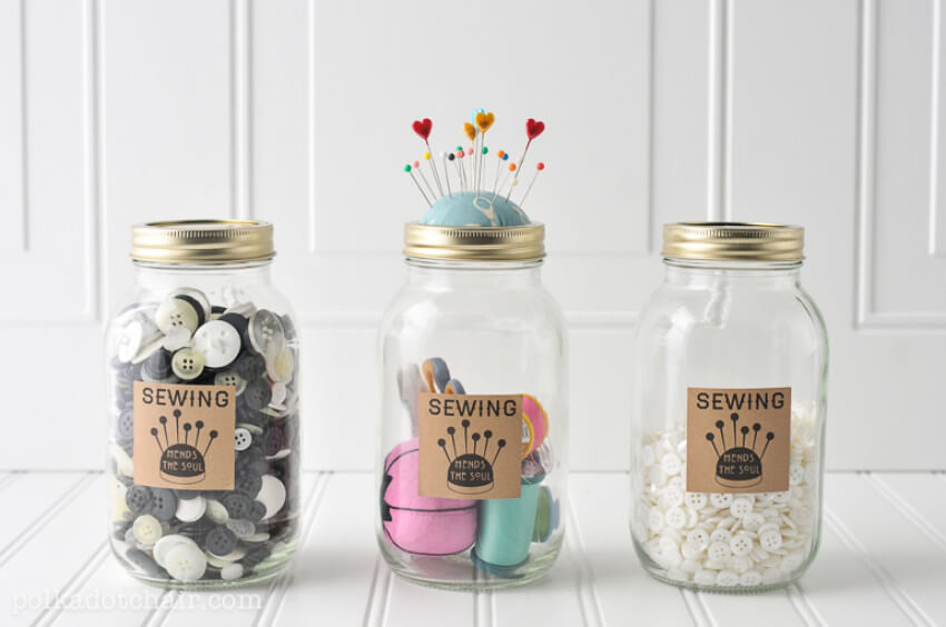 Mason jars make a lovely sewing kit as well.