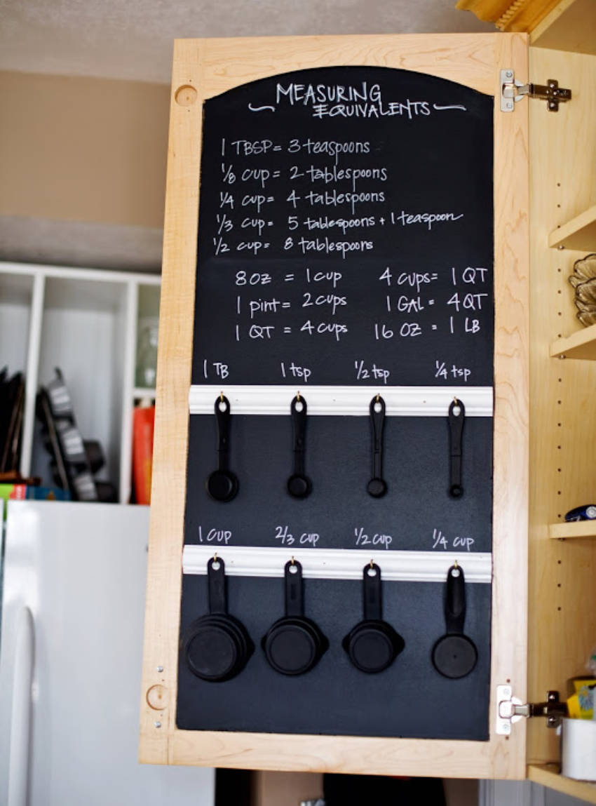 measuring tools hanging on a cabinet