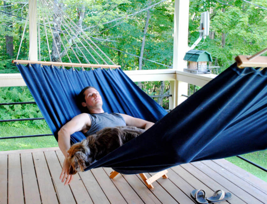 A hammock is perfect to spend time outdoors and relax.