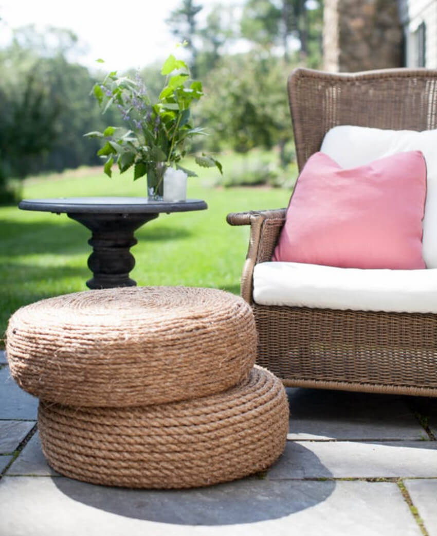Ottomans can be used as sitting place or as a table.