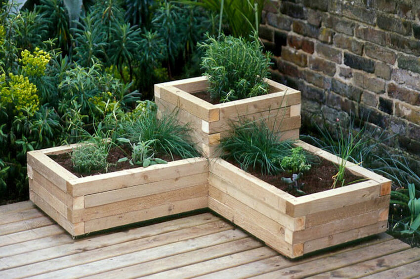 A corner planter will add character to your landscape.