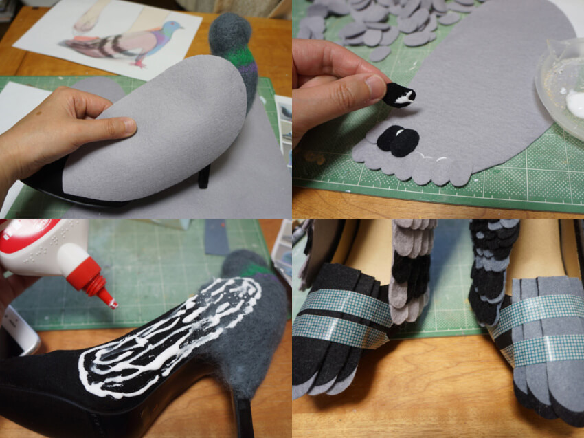 Use felt to make the wings and feathers, and glue them to the shoe using PVA glue