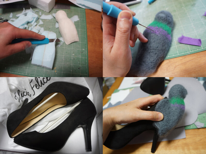 Make the pigeon shape out of styrofoam, cover with felt and attach to an old pair of heels