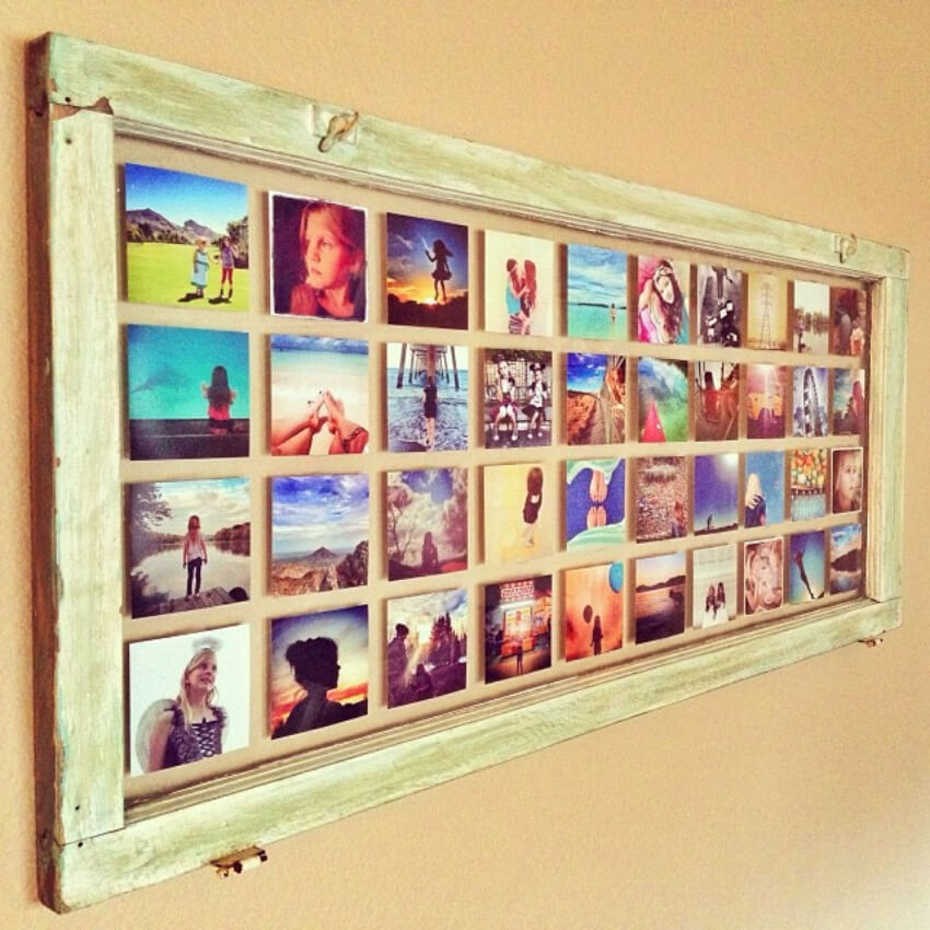 Use double-sided tape to attach the pictures to the glass