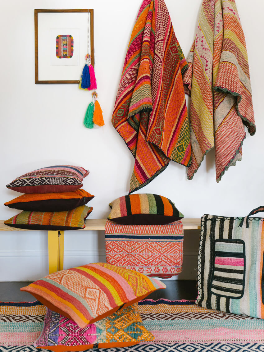 Peruvian textiles are a beautiful way to distract from old furniture.