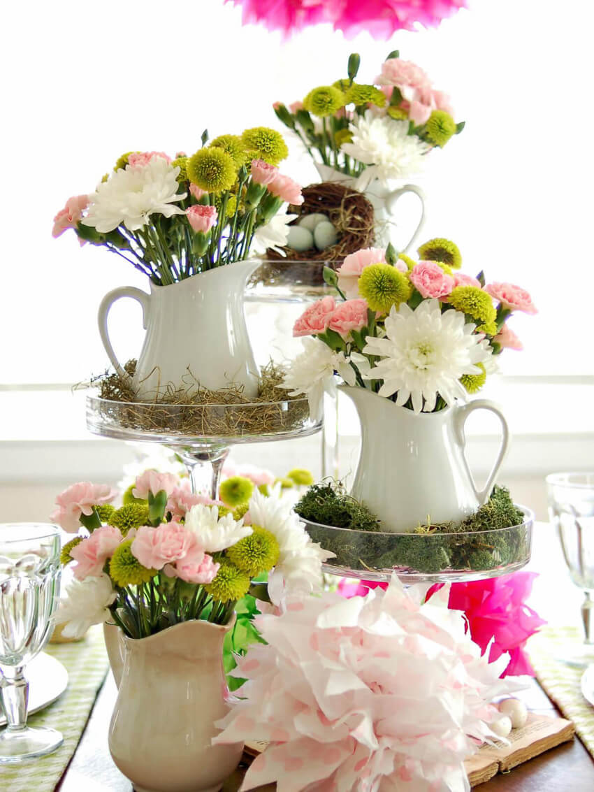 This multi-leveled table centerpiece will bring spring into your home!