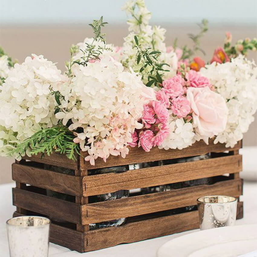Make spring rustic with a crate and some flowers!
