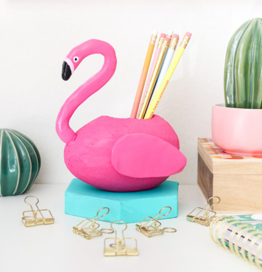 This flamingo pencil holder will make your office super fun.