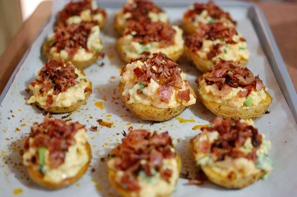 Loaded baked potato skins are the ultimate in snacking