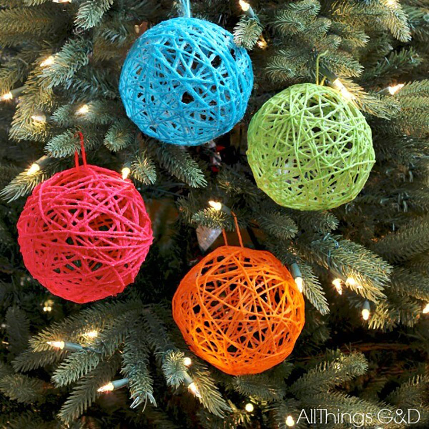 DIY Yarn Ball Ornaments - Easy DIY Christmas Ornaments