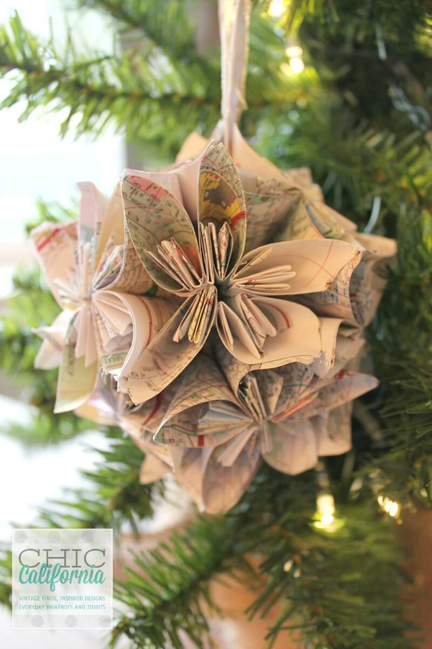 Vintage Map Ornament - Easy DIY Christmas Ornaments