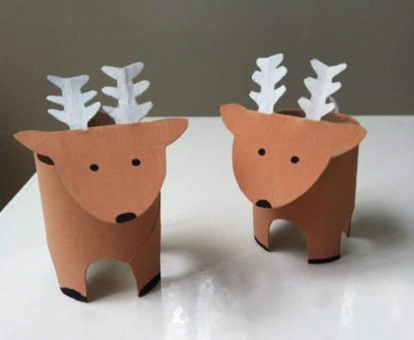 Paper rolls can be recycled to create these adorable reindeers.