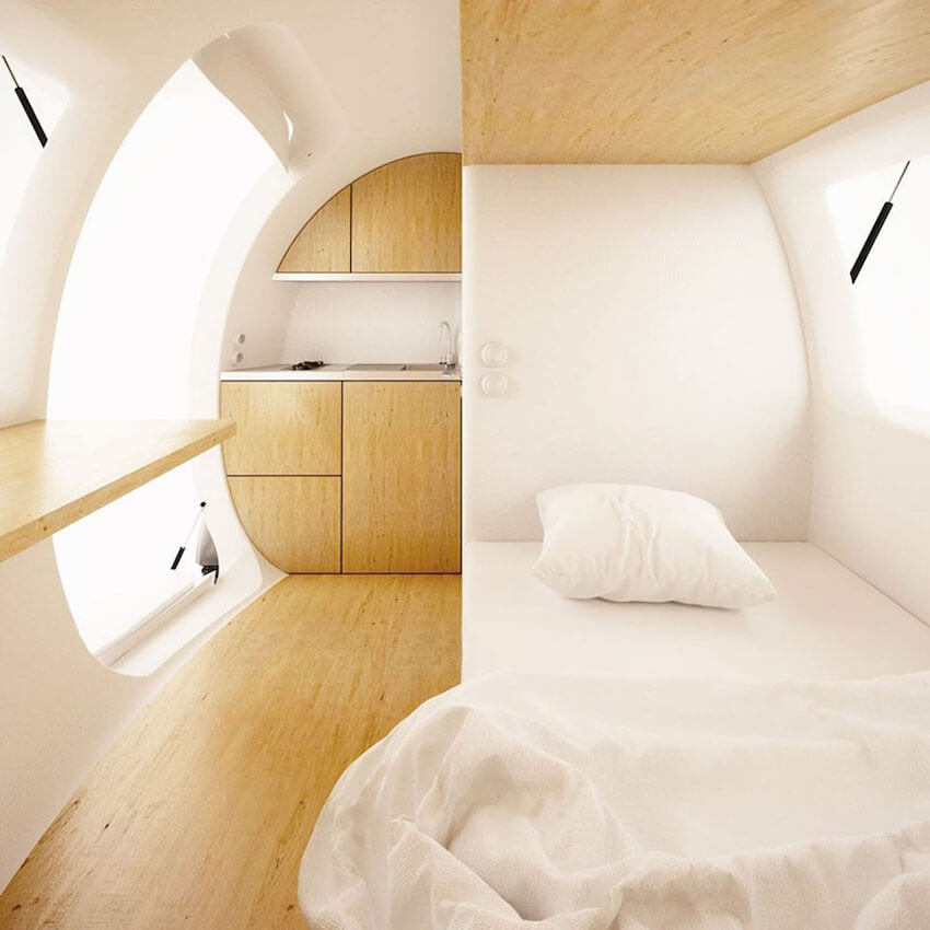 the ecocapsule can comfortably sleep two