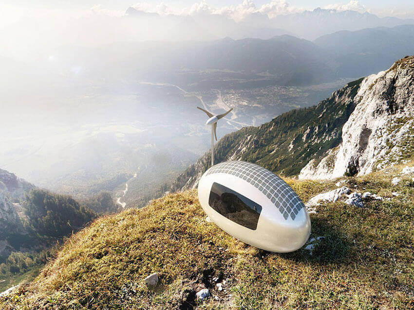 the ecocapsule runs on solar and wind energy