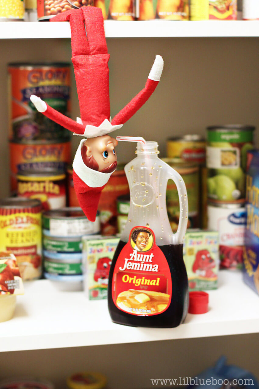 Naughty elf stealing a bit of that syrup!