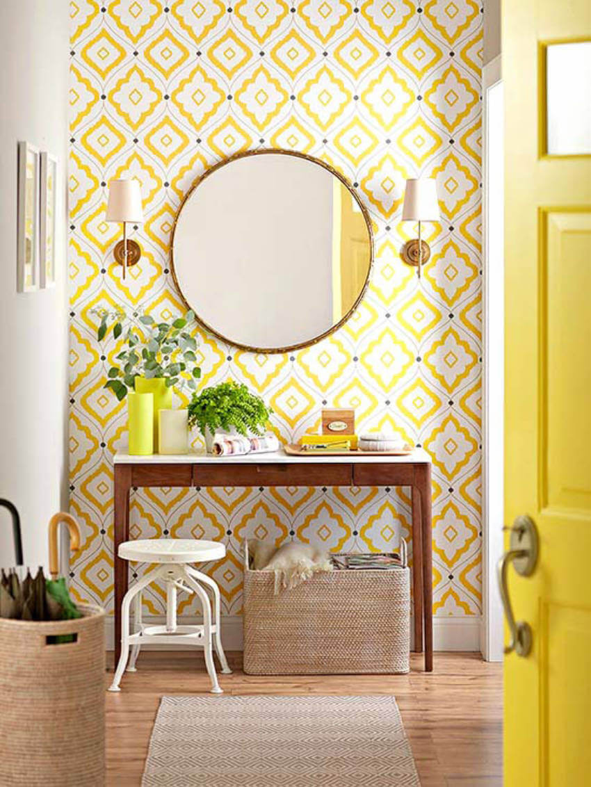 A yellow wallpaper will brighten the mood of anyone who walks into your home.