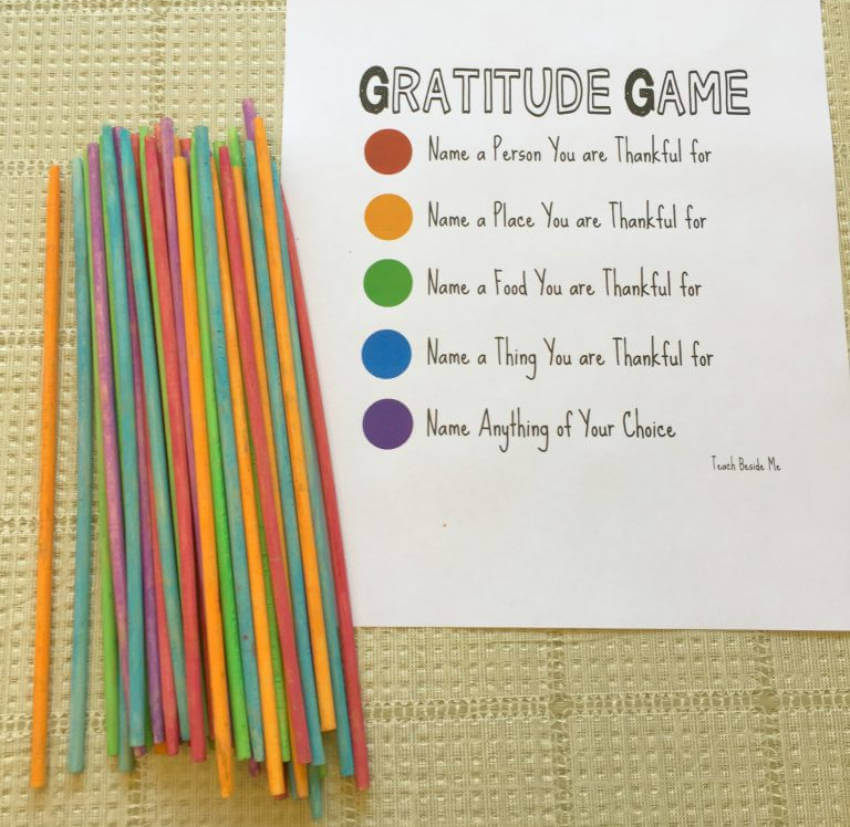 Each color represents something to be grateful for!