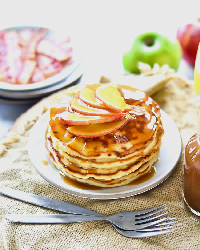 Apple cider pancakes are an amazing breakfast option for your weekends this fall!