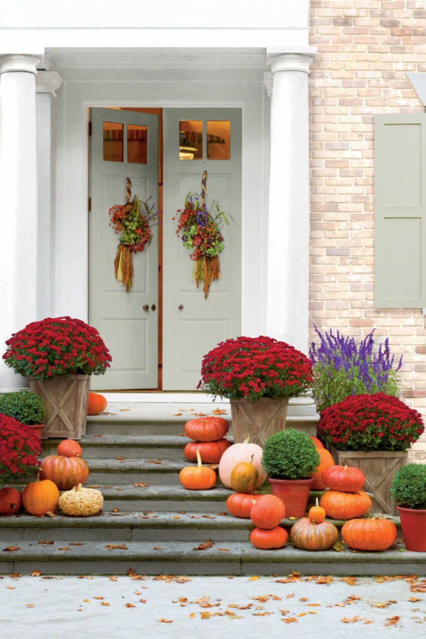 Mums are the perfect way to add color to your home entrance.