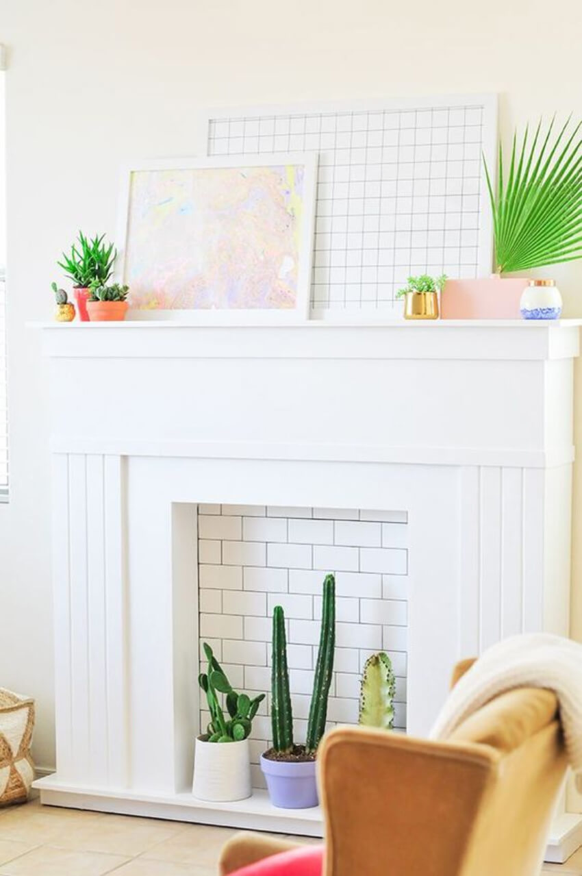 A brick wall can add an interesting touch to the fireplace!