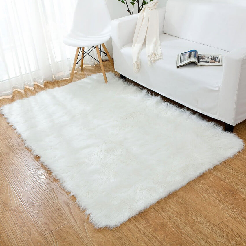 A faux fur rug to keep your feet super comfy.