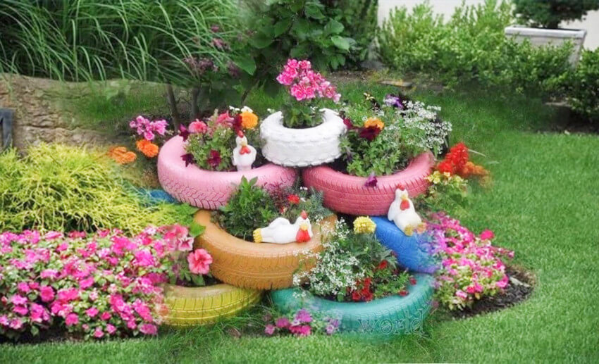 Spare tires and ceramic chickens will make an awesome yard.