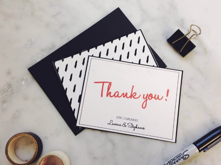 A handwritten thank-you card is the best way to express your gratitude.