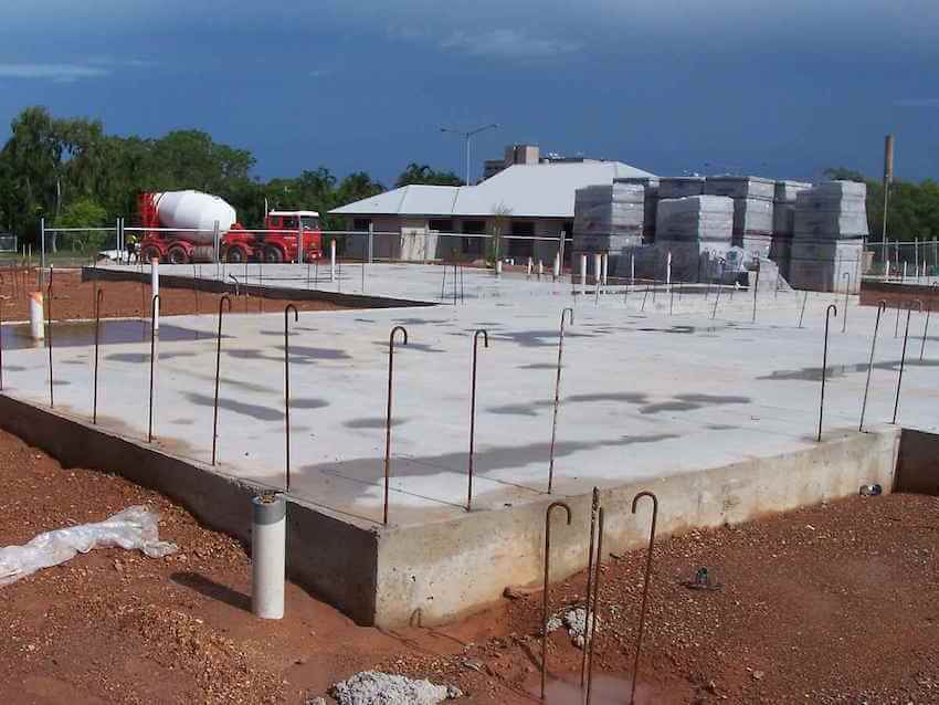 Concrete foundation work and concrete slabs