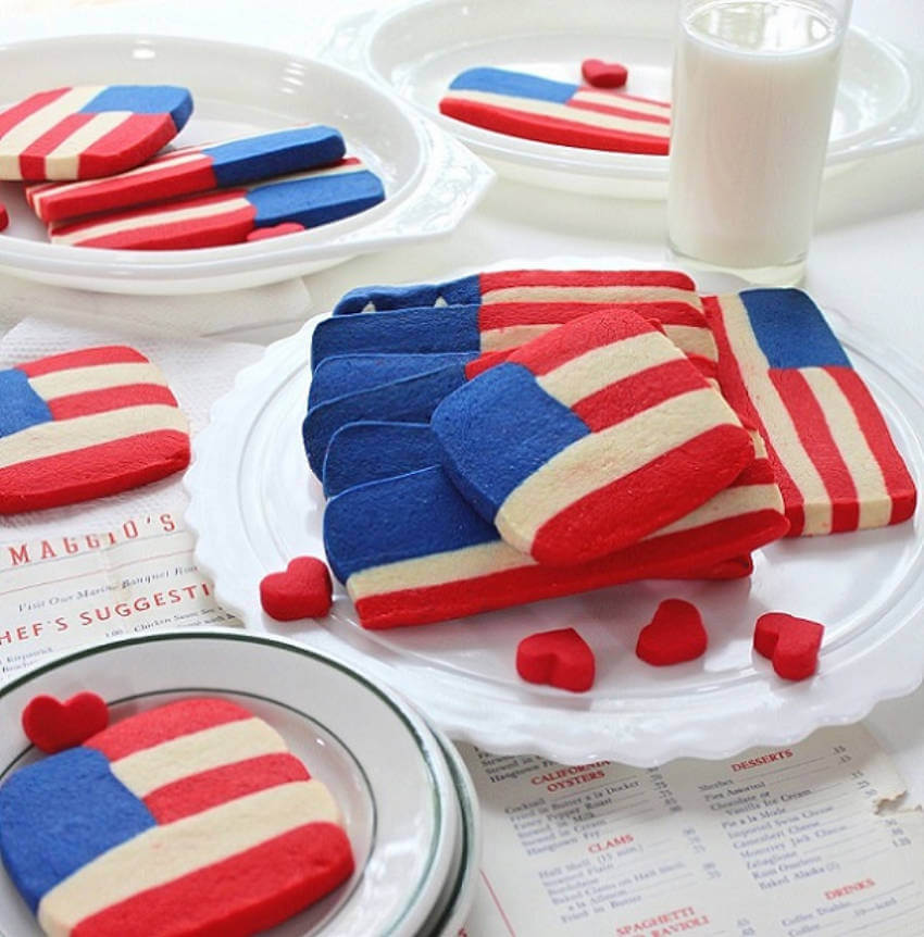 Shortbread flag cookies.