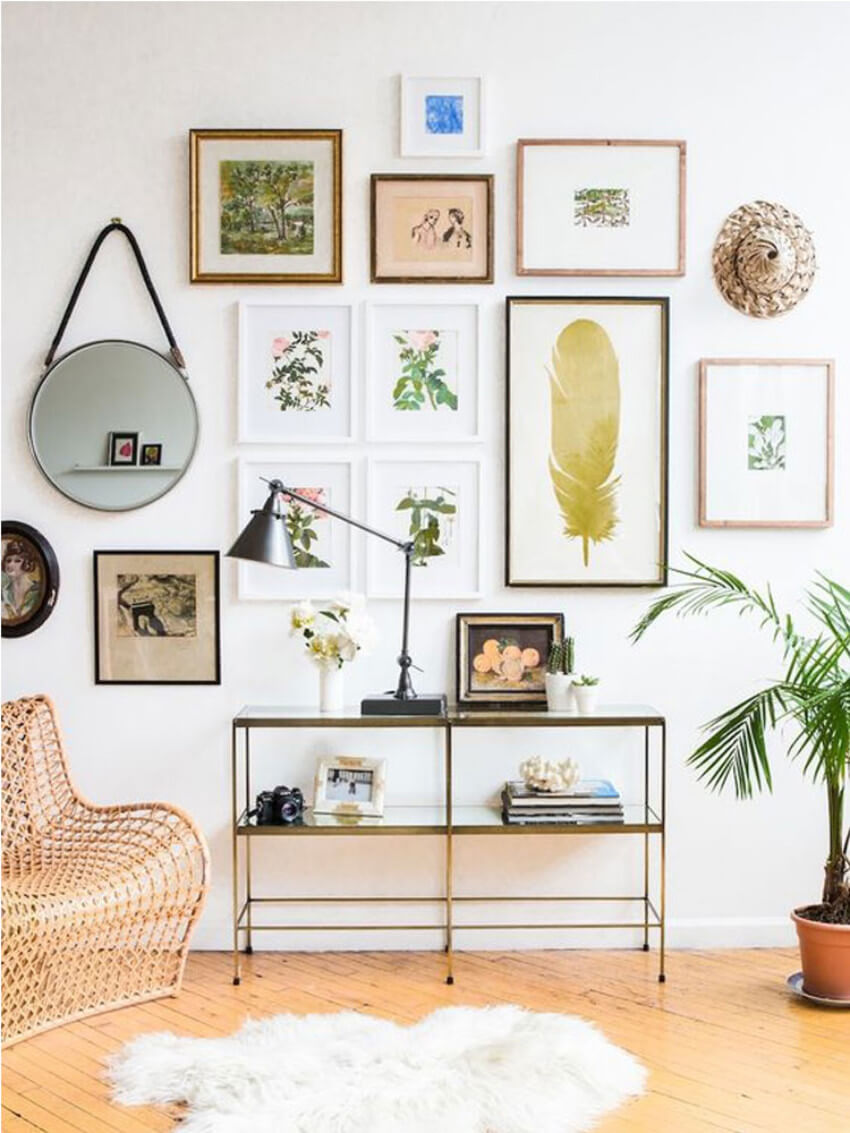 Making your gallery wall colorful creates a cheerful area for hanging your printables.