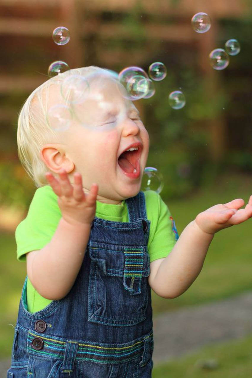 Blowing bubbles is guaranteed to bring lots of laughter!