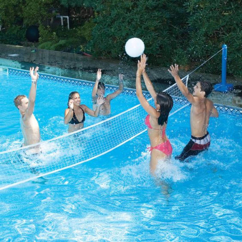 Pool volleyball is a great, healthy exercise for the whole family!