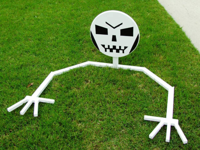 A skeleton rising from the ground can be fun too!