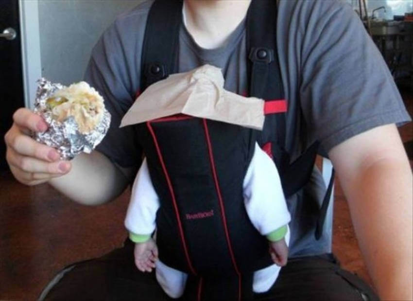Who says you can't eat while holding your child?