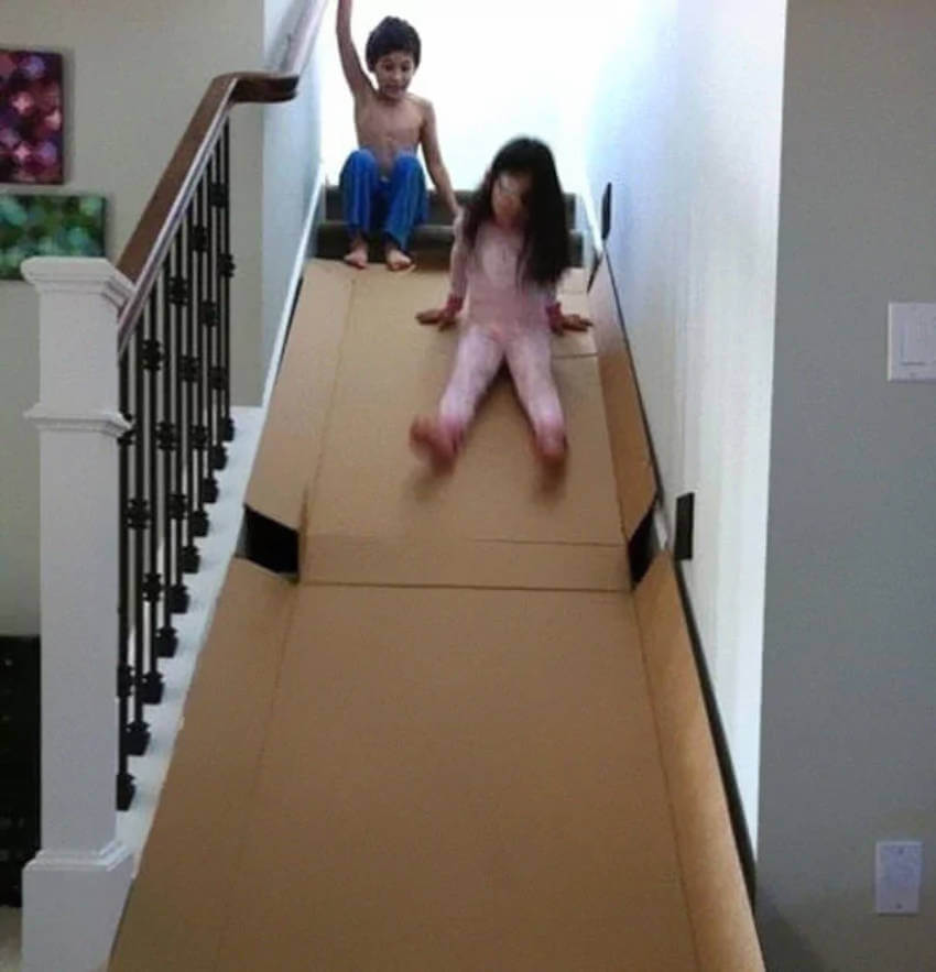 With their very own slide, these kids were totally ok with staying indoors