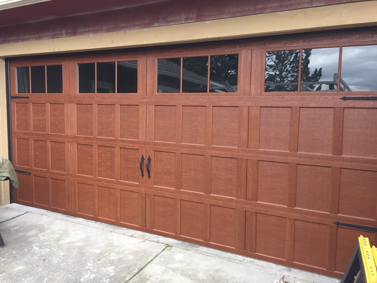 Old school wooden garage doors