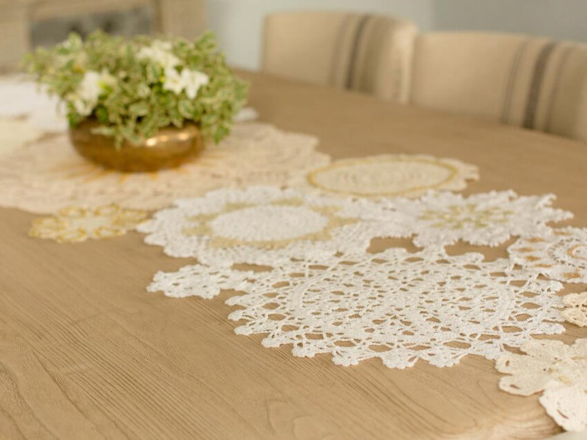 A doily table runner will make your dining room look special.