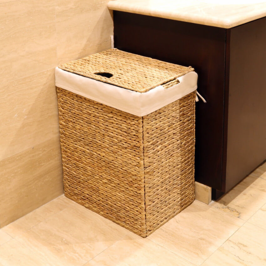 A wicker hamper will beautify your room.