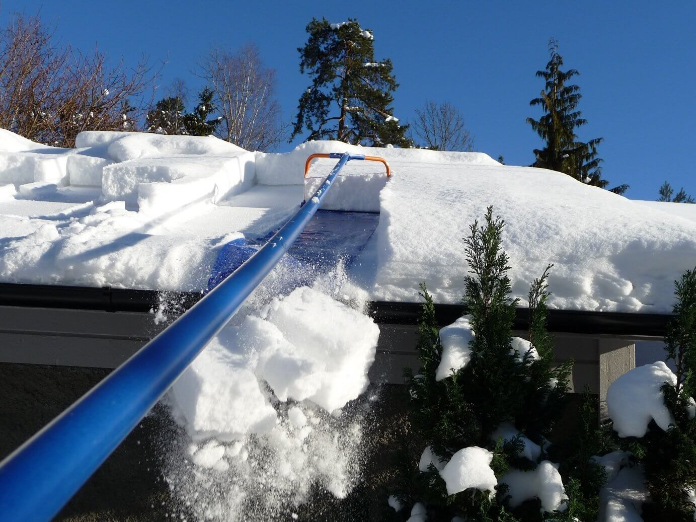 Buy a roof rake to combat the snow.