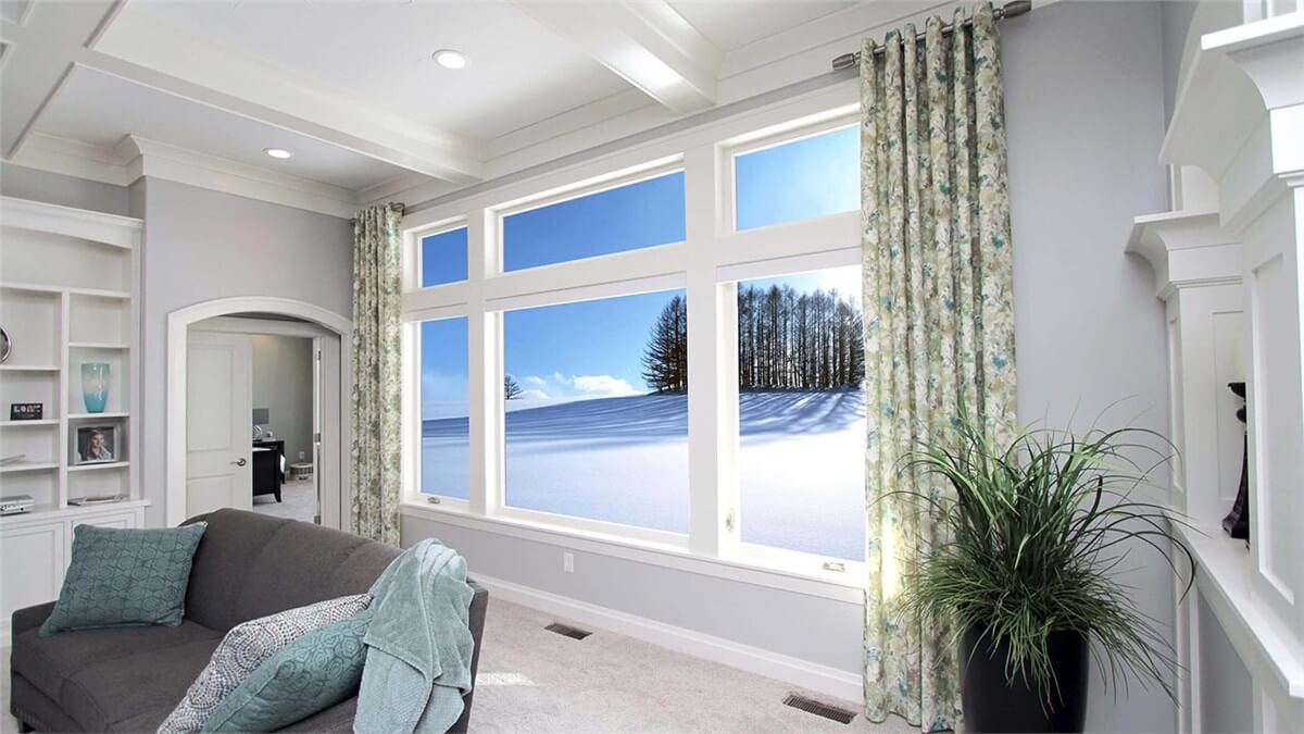 A snowy wonderland from the warm view of your front windows.