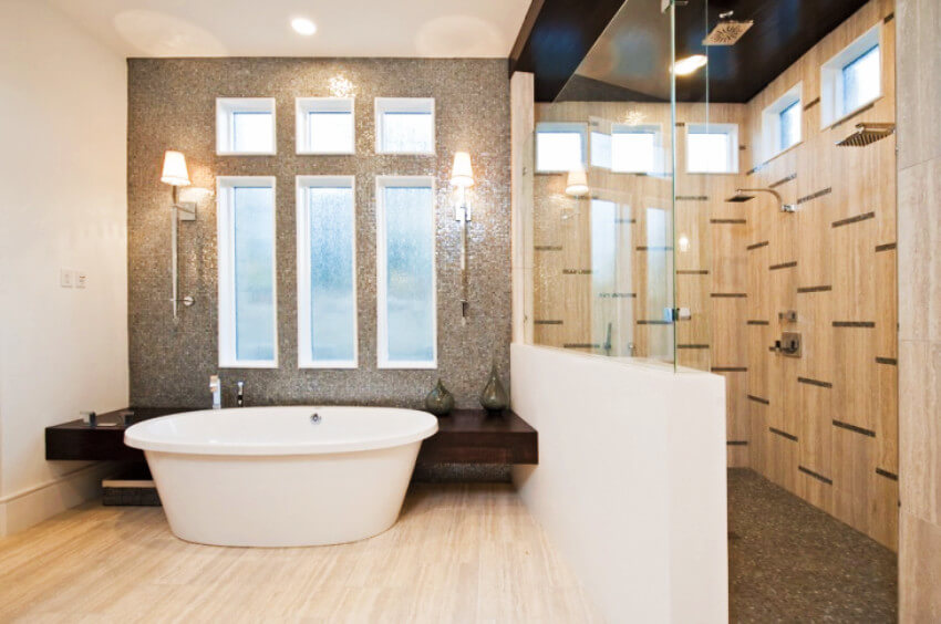 Your bathroom can get a half-wall and look amazing too!