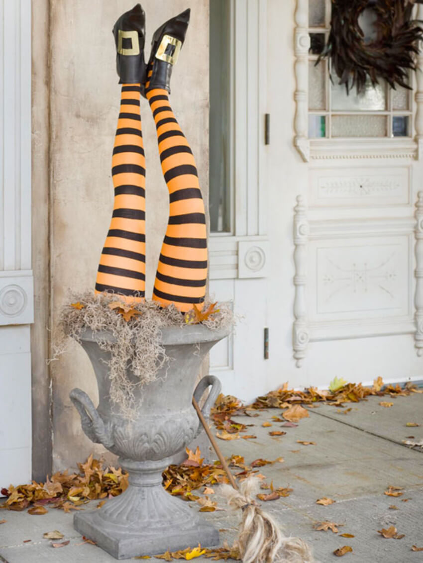 Witch legs are one of the coolest Halloween decorations.